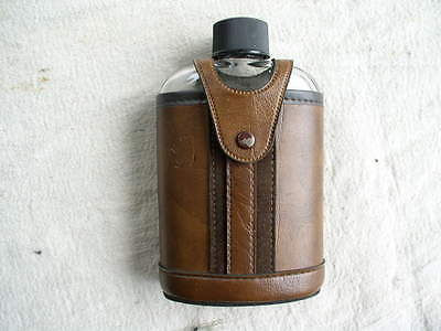Vintage Glass Hip Flask With Leather Snap Case J Embossed