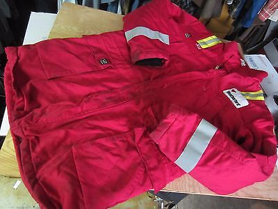 Used WENAAS Anti Flame Resistant FR heavy COAT JACKET XL Tall XLT red reflective