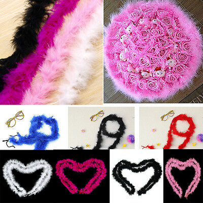 2M Marabou Feather String Swansdown Fur Trimming Soft Fluffy Trim Wedding Decor