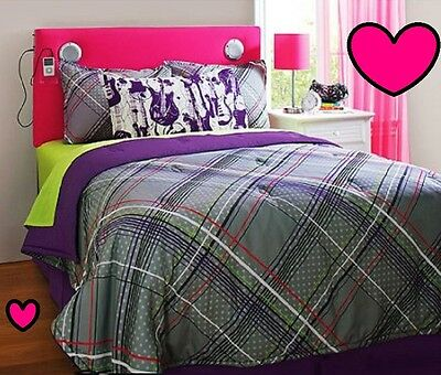 💗 ALL SIZES Purple & Grey Reversible Bed-in-a-Bag Comforter  & Matching Set