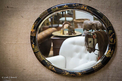 Antique Chinoiserie Black Lacquered Chinese Style Oval Bevelled Mirror