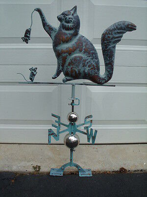 Cat Mouse Weathervane Antique Copper Finish Weather Vane Hand Crafted Kitten