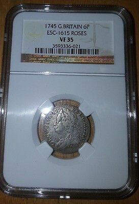 1745 NGC VF 35 GREAT BRITAIN 6 Pence George II Roses POP 2/1