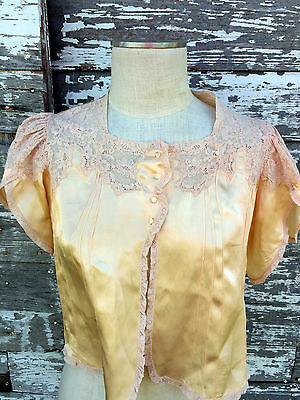 Antique 1930's Sleepwear peach Satin Silk Top French Style Lace Shell Buttons