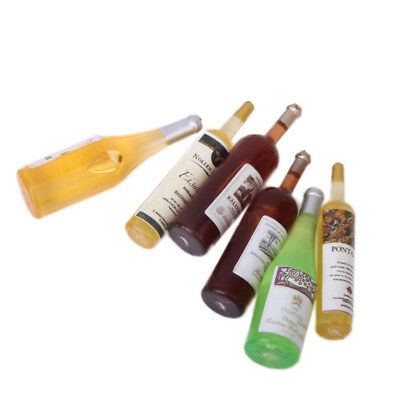 Set of 6pcs Multicolored Wine Bottles for Dollhouse Miniature 1:12 Scale