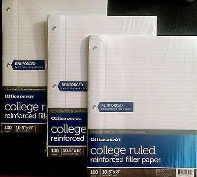3 Pks Reinforced College Ruled Loose Leaf Heavy Weight Filler Paper, 300 Sheets