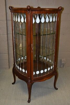 Antique Leaded Glass Mahogany Curio Cabinet