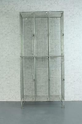 Vintage Industrial Wire Mesh Lockers Shelving Unit 3 Column #1788