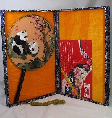 Shu Embroidery Chinese Silk Paddle Fan - Double Sided Panda Scene With Case