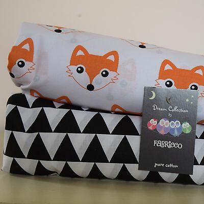 Cot Bed Fitted Sheet 100% COTTON Black White Orange Geometric print FOX TRIANGLE
