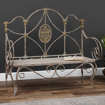 "58"" w Jose Iron Bench verdigris finish distressed paint finish medium light gray"