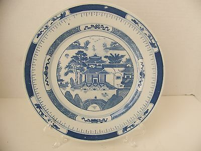 """Vintage Asian 10"""" Blue & White Plate With Temple Pattern - Marked Back Of Plate"""