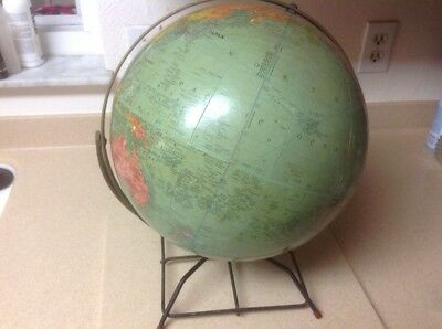 Vintage 12 Inch Replogle World Nation Reference Globe With Metal Stand Art Deco