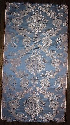 "French Antique Mid 1800's Blue Lyon Silk Home Decor Fabric Sample L38""xW26"""