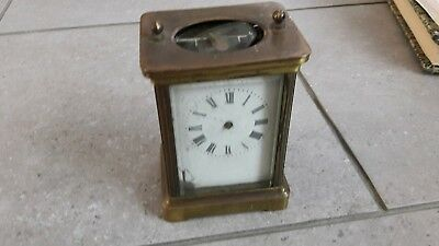 Vintage Solid Brass And 5 Sided Glass French Carriage Clock. Spares And Repair.