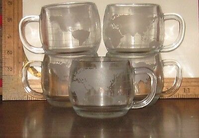 5 Nestle Etched World Coffee & Tea Cups Nescafe 1970's