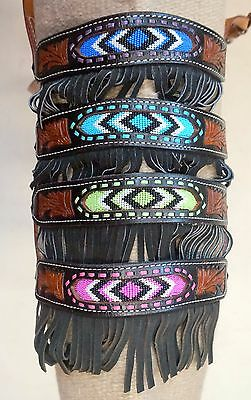 Showman Full Size Fringe Leather Noseband with Colored Beaded Inlay