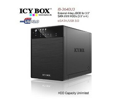 Brand New ICY BOX IB-3640SU3 External 4-bay JBOD system for 3.5 Inch SATA HDDs