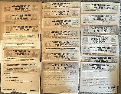LOT of 24 WESTERN UNION TELEGRAM. CIVIL WAR TIES...PLUS. 1904-1933