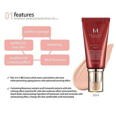 Original MISSHA M Perfect Cover BB Cream SPF42/Pa+++ (No.21/ Light Beige) 50ml