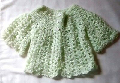 Vintage Hand Crocheted Mint Green Wool Infant Sweater For Baby Girl or Doll