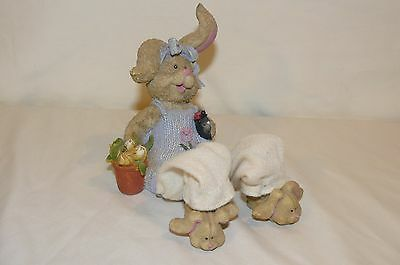 "Gardening Shelf Bunny Rabbit Figurine Ladybug Flower Pot Resin 7"" Sitting"