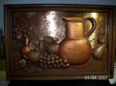 """Vintage Framed 3D Copper Backed Pictures - 16"""" x 11"""" - Fruit & Flowers -Oxidized"""