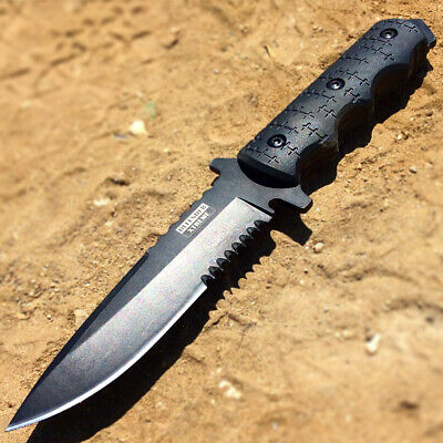 "9"" Defender Xtreme Tactical Team All Black Hunting Knife with Sheath"