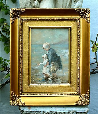 Fine Early C20th Scottish School Oil on Panel - Mother & Child Paddling