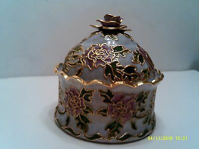 Chinese Cloisonne Rose Trinket Box with Lid
