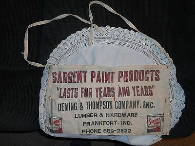 Vintage Unused Nail Apron Advertising Sargent Paint Products Frankfort, Indiana