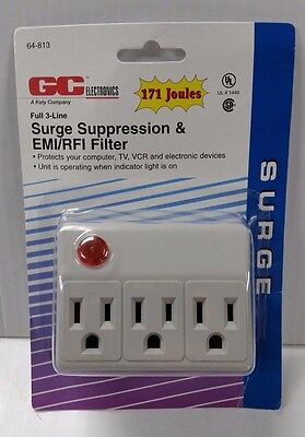 3 Outlet Surge Protector Grounded Wall Tap Adapter 171 Joules EMI/RFI Filter UL