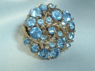 Vintage Light Blue Rhinestone Cocktail Ring Gold Tone Size 6.5 Adjustable Band