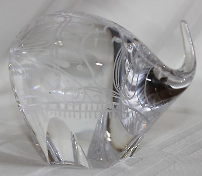 Gorgeous Etched Elephant Crystal Figure or Paperweight - Signed