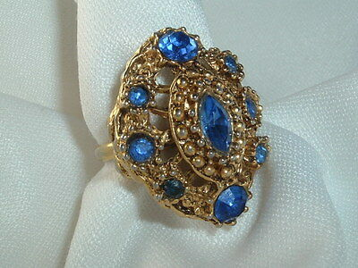 Vintage Royal Blue Rhinestone Cocktail Ring Gold Tone Size 7.5 Adjustable Band