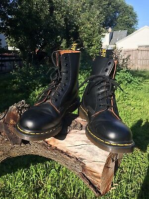 Vintage Dr Martens Black Leather Boots Made In England Men's 9.5 Very Nice