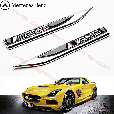 MERCEDES AMG WING LOGO BLADE BADGES FOR A B C E G M S CL CLA GLA ML  (1x PAIR)