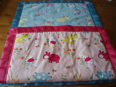 Handmade Baby Bedding-Blue or Pink Patterned Quilt with matching Satin Binding