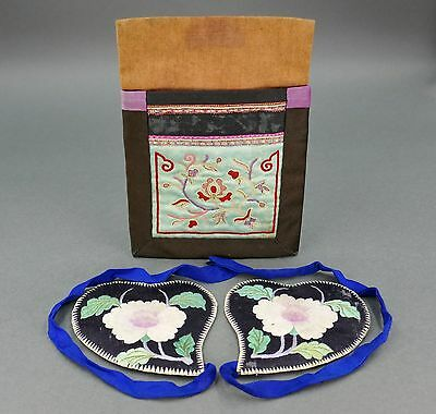 Fine Antique Chinese Silk Embroidered Floral Pouch Purse & Pair of Covers