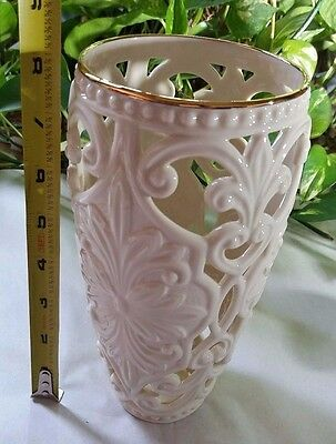 Lenox Classic Pierced Scroll Vase with Gold Decorated Rim