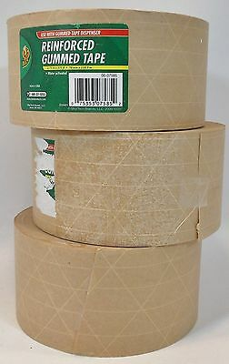"DUCK REINFORCED GUMMED TAPE WATER-ACTIVATED 3 Roll Lot 2.75"" x 375 ft"