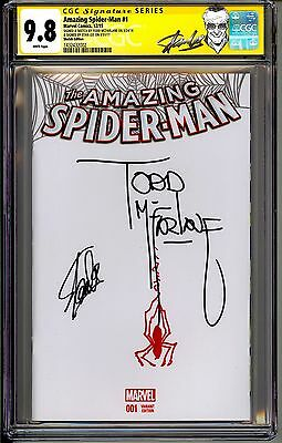 The Amazing Spider-Man #1 Cgc Ss 9.8 Stan Lee Sketch By Todd Mcfarlane