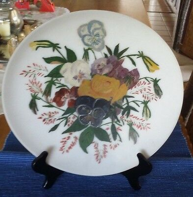 Antique Hand-Painted Floral Frosted Glass Plate