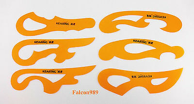 6pc Sewing Design French Ship Curve Drawing Drafting Template Stencil Ruler Tool
