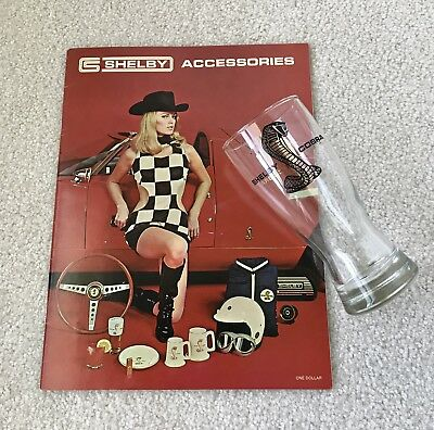 Vintage original NOS 1969 Shelby Cobra pilsner beer glass Shelby Autosport 23ct!