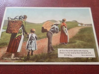 1938 Postcard Carrying Home The Turf Ireland