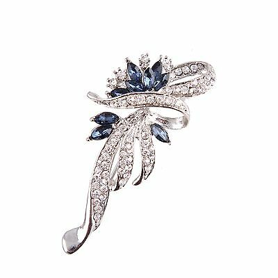 Rhinestone crystal blue silver flower bridal bouquet brooch pin wedding party A