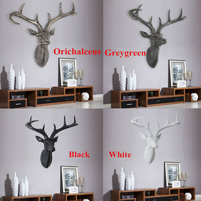 XL Large Wall Mounted Stag Deer Antlers Head Chic Resin Wall Art Hanging Decor