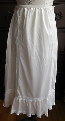 True Vintage Off White W/lace Unbranded Women's Long Full Half Slip Size S/m