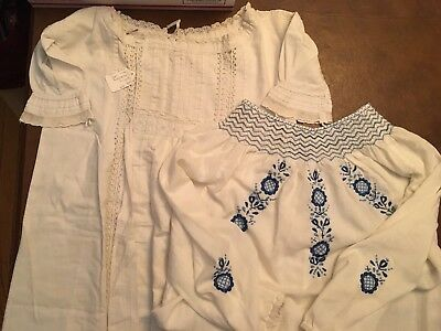 2 Items: Antique Baby Christening Gown And Hand Smocked Sleeping Gown
